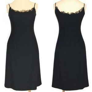 Escada Lace Trim Virgin Wool Little Black Dress 8